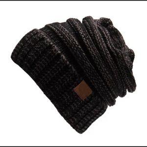 CC Slouchy beanie+Gray/Black+Perfect fit beanie